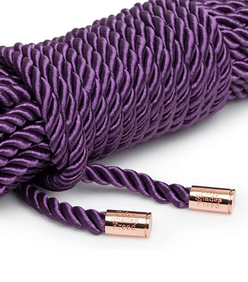 Rose gold tipped ends of this Light Bondage Rope by Fifty Shades Freed